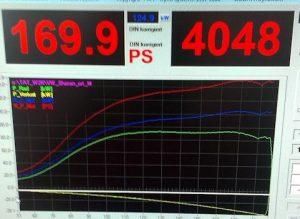 Általunk módosított Chiptuning után: 169LE és 380NM