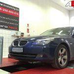 BMW 525D Automata Gyári adatok: 197LE/400NM Mért adatok: 204LE/429NM AET CHIPtuning, tartósságot is figyelembe vevő OPTimalizált beállítás: 243LE/496NM